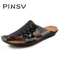 4 Colours Leather Sandals Men Summer Shoes Brand Beach Slippers Men Sandals Black Men Slippers Zapatillas