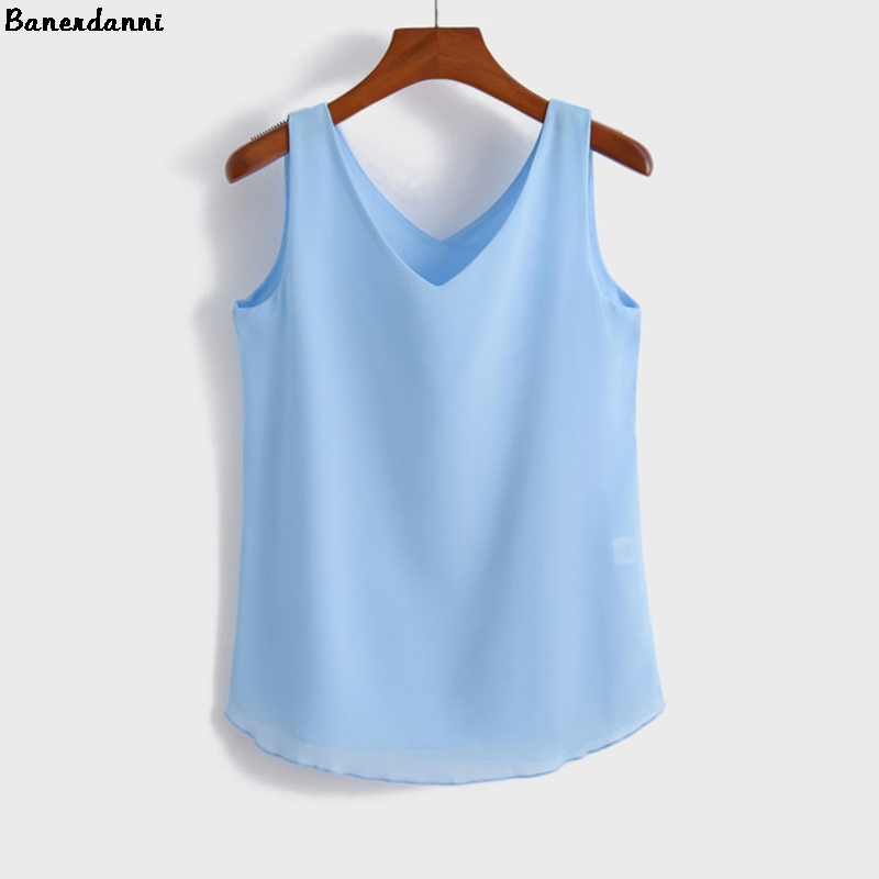 2018 Summer Fashion Female Chiffon Blouses Solid Sleeveless Women Shirts Loose V-nek Top Plus Sizes Candy Color Curve Apparel