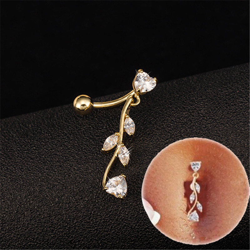 CZ Bow Arrow Belly Button Bar Navel Ring Dangle Body Piercing Jewellery