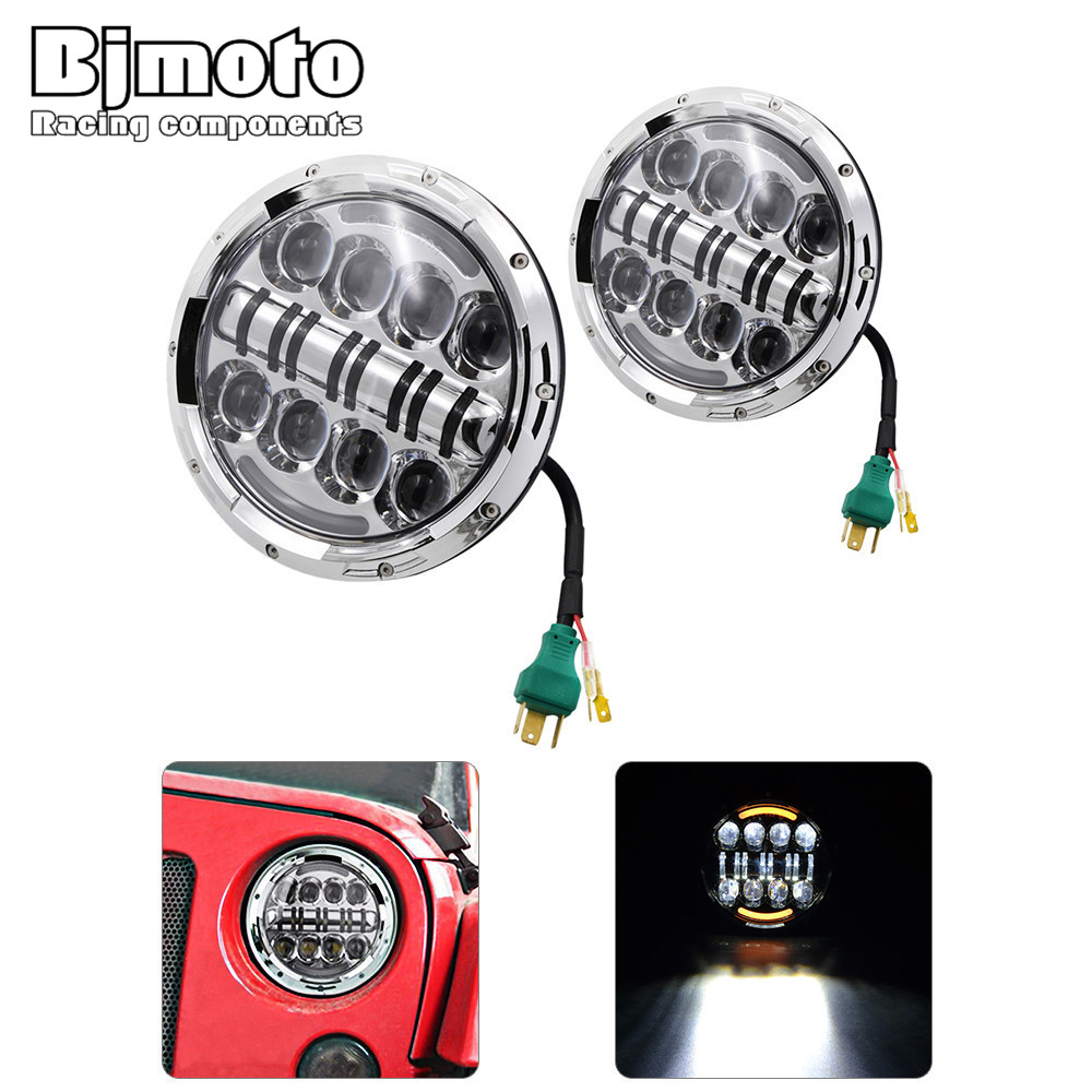 BJMOTO (2pcs/Lot) 7 inch 80w Round LED Headlight with DRL High Low Beam Led Chip for JEEP Wrangler 2007-2015 Jk Tj Fj 2pcs 7 inch round led headlight with white amber lighting color drl 7 high low beam headlamp for jeep wrangler