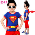 Summer Children's clothing set T-shirt  + pants / trouser suit boy kids clothes Superman Cartoons patterns Free shiping