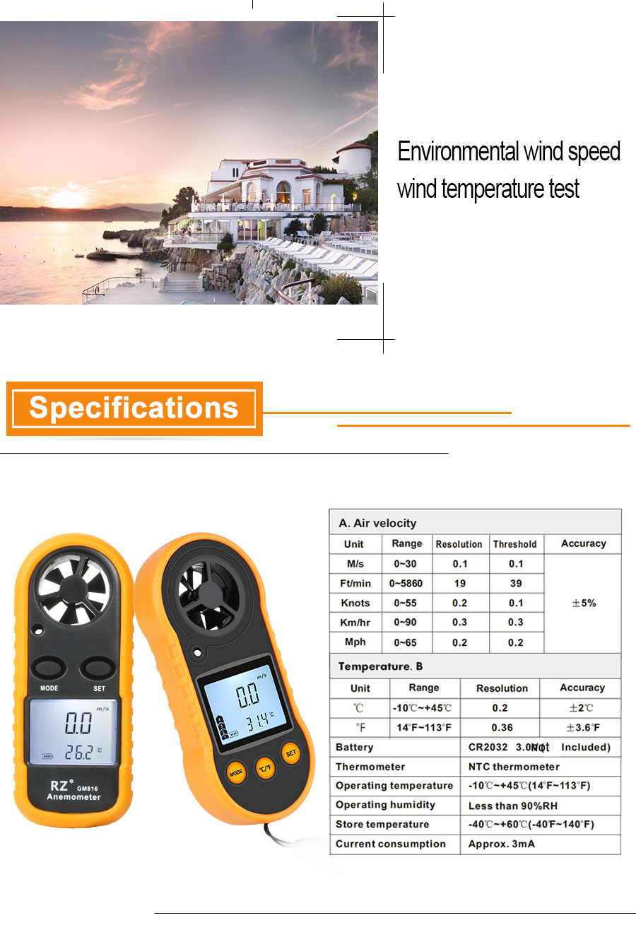 Portable RZ GM816 Wind Speed Meter Used as Anemometer with LCD Display Useful for Windsurfing 8