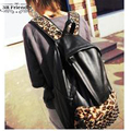 Moda negro patchwork estampado de leopardo mochila 2013 del remache ocasional bolsa de la escuela bolsas de viaje PU