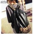 Moda preto estampa de leopardo patchwork mochila 2013 rebite casuais saco de escola sacos de viagem PU