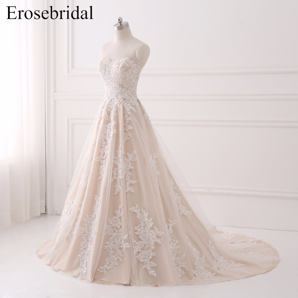 Real Image 2018 Wedding Dress Lace Bridal Gown Erosebridal Plus Size Wedding Dresses Lace Up Back Vestido De Noiva GLT001 in Wedding Dresses from Weddings Events