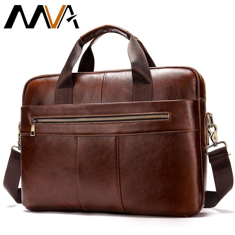 MVA Men's Briefcase/bag Of Leather Messenger Bag Men's Genuine Leather Bag Men Vintage Laptop/office Bags For Men Handbags 8523