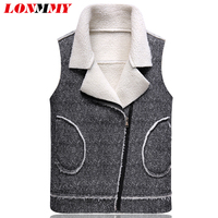 LONMMY M 3XL Wool Vest Fur Collar Men Coats Slim Lapel Plus Velvet Thicker Liner Casual