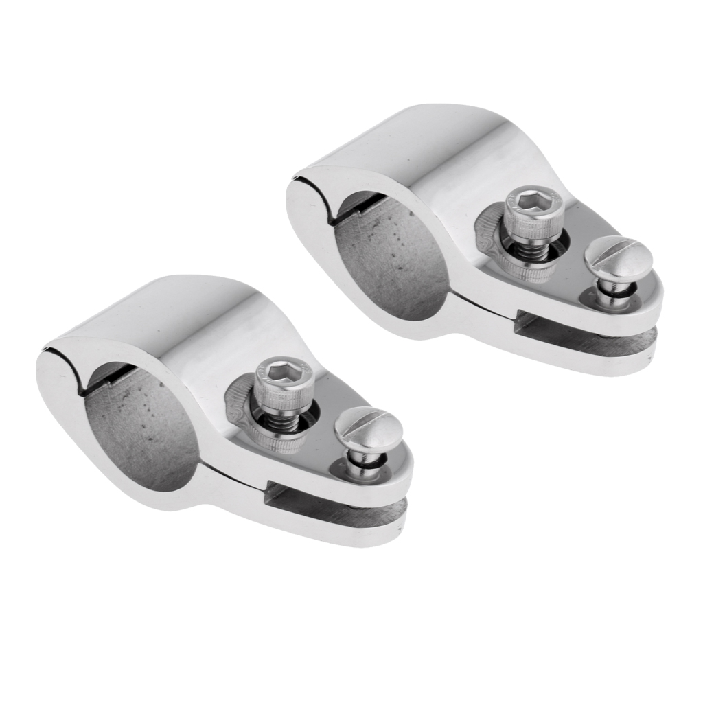 2Pcs Boat Bimini Top Hinged Jaw Slide Boat Canopy Tube Clamp Fitting Stainless Steel Boat Accessories Marine 22mm Silver