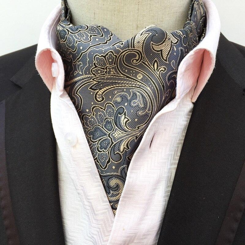92b0af41def7 Men's Paisley Gentlemen Silk Cravat Ascot Ties Handkerchief Super Jacquard  Silk Tie Cravat Necktie Scrunch Self