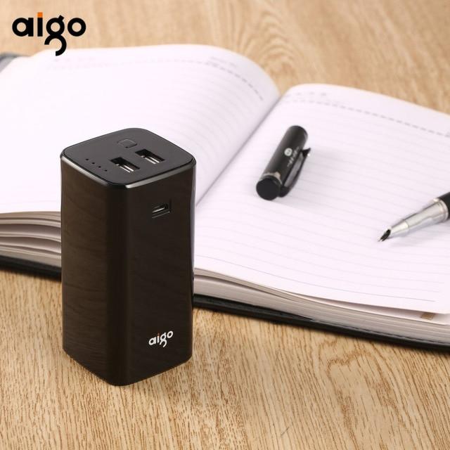 10000 мАч Aigo Запасные Аккумуляторы для телефонов 18650 Батарея Dual USB Выходы Быстрая зарядка мобильных Мощность банк Портативный внешний Батарея Для Сяо mi ми
