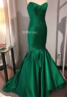 Simple Green Mermaid Dresses Prom 2019 Strapless Floor Length Long Elegant Formal Evening Gown Cheap Occasion Women Party Dress