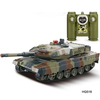 Battle Tank 1/24 Scale German Leopard A6 Infrared Fighting RC Battle Tank with Sound and Lights Wireless RC Tank Toys