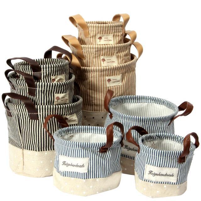 Pcs Set Zakka Foldable Storage Bins Basket Cotton Linen Fabric Stripe Cosmetic Case Desk Storage