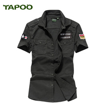 TAPOO Mens Summer Camouflage Army Green shirt Men Mlitary Tactical 100% Cotton Shirt US Airborne Division Tops