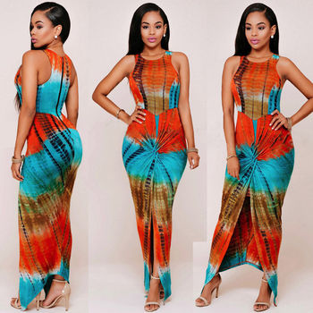 Sexy Dress Women 2019 Summer Casual Straight Sleeveless O-Neck Exotic Printed Party Dressses Bandage Long Maxi Dress For Women