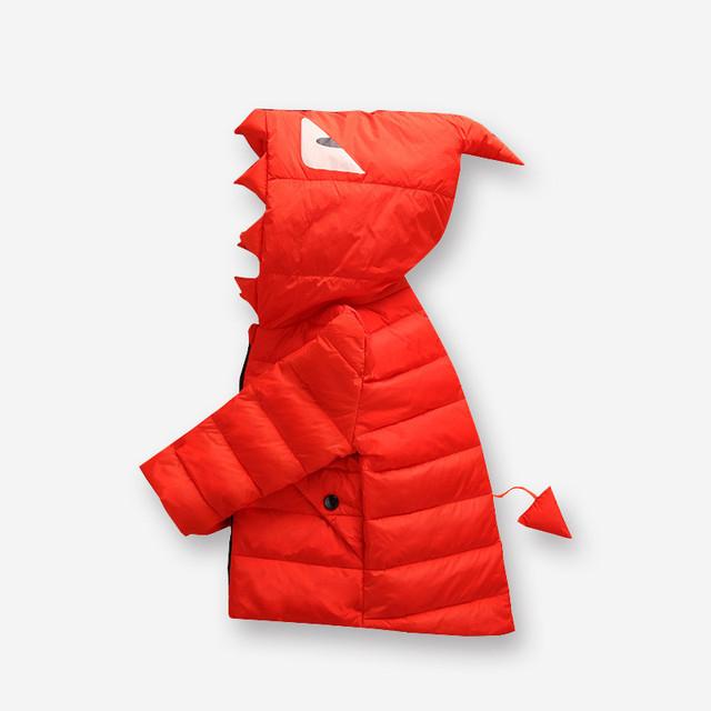 2016 Nuevo estilo bebé prendas de vestir exteriores del invierno Del Bebé abrigo de invierno Los Niños Ropa de los Cabritos Muchachos Gilrs Capa Muchachas de Los Bebés de Dinosaurio ropa