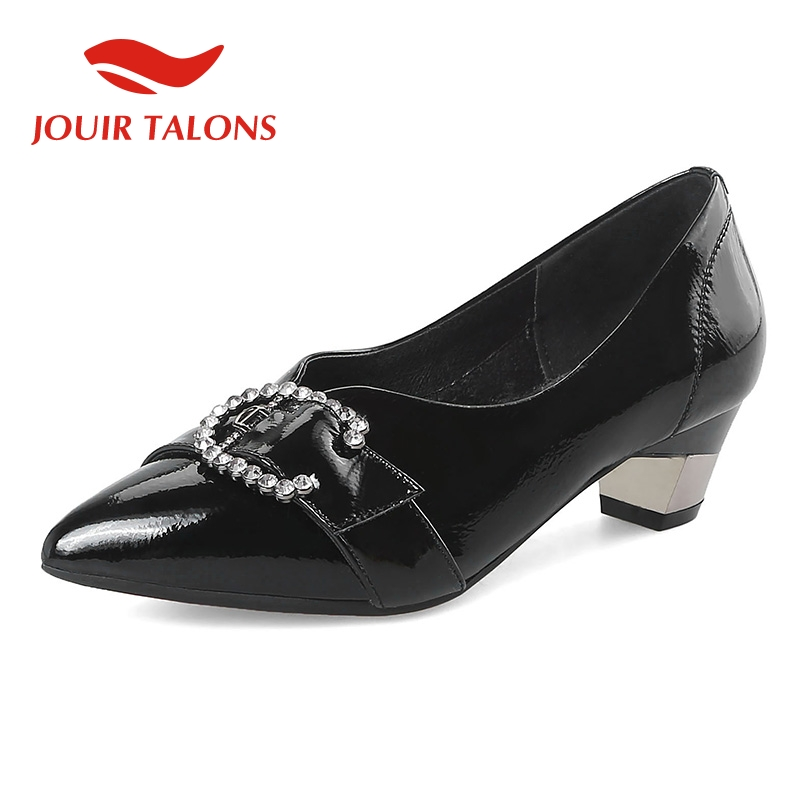 JOUIR TALONS 2019 classic cow genuine leather woman Shoes sexy pointed toe elegant chunky heels office lady shoes women pumpsJOUIR TALONS 2019 classic cow genuine leather woman Shoes sexy pointed toe elegant chunky heels office lady shoes women pumps