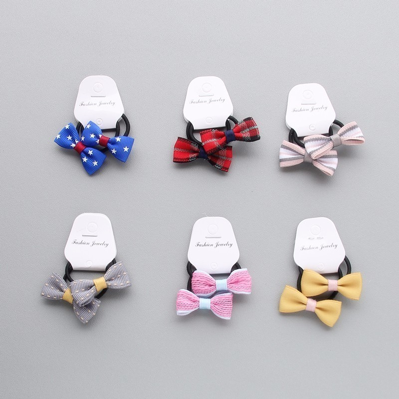 2 PCS Cartoon Little Bowknot Girls Hair Accessories Princess Headwear Kids Elastic Hair Bands Children Hair Ropes Baby Headdress newly design manual girls hair accessories kids elastic hair bands princess headwear children hair bow ropes baby headdress