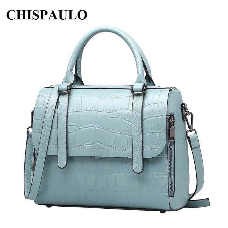 CHISPAULO Genuine Leather Handbags Luxury For Women crocodile bag leather Tassel Women's Messenger Shoulder Bags Patent new C134 chispaulo women genuine leather handbags cowhide patent famous brands designer handbags high quality tote bag bolsa tassel c165