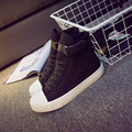 Women canvas shoes for 2017 spring and autumn female High-top pure black classic casual shoes footwear size 35-41