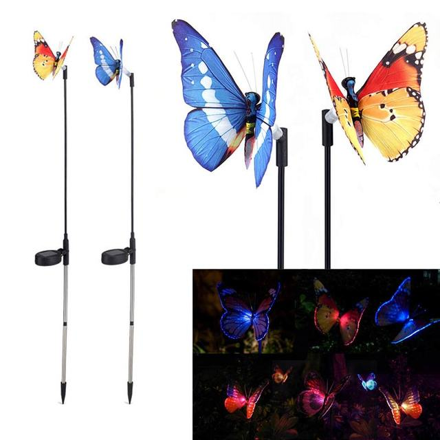 1/2pcs Butterfly Stake Solar Power Light,Colorfull Garden Wall Yard  Decoration Light