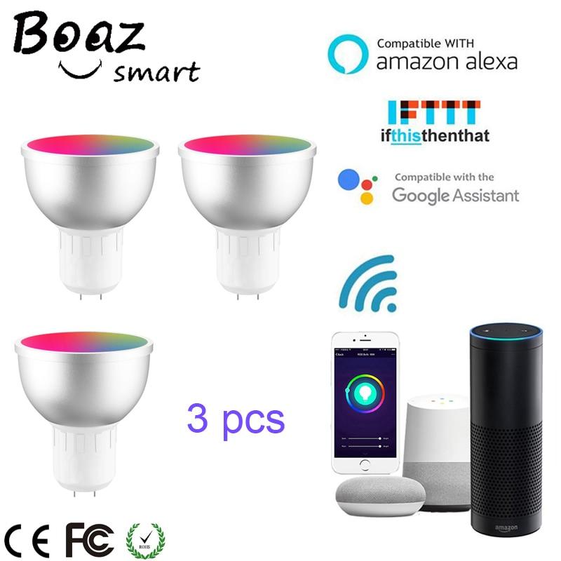 Boaz-EC Smart Wifi GU5.3 Spotlight Remote Control Bulb RGBW Led Light Alexa Echo Google Home IFTTT Tuya