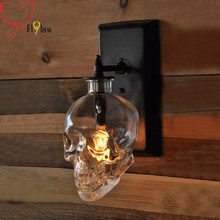 Creative loft Human Skull bones wall lamp,E14 Skull Ghost clear Glass wall sconces for Bar restaurant deco wall light fixture(China)