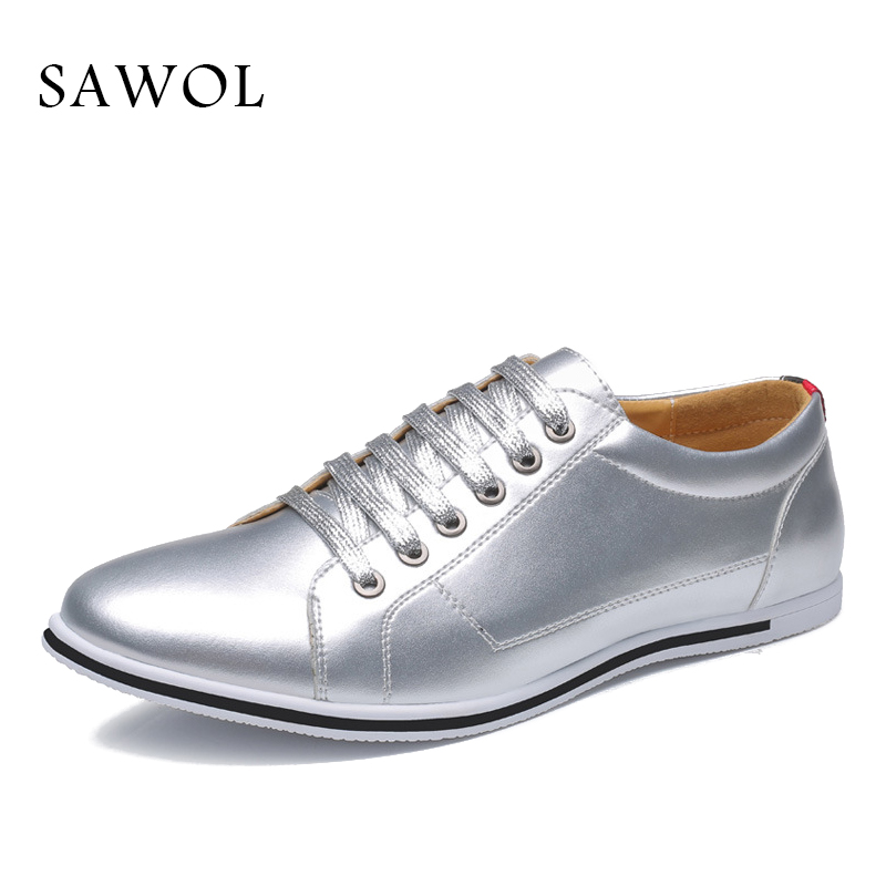Sawol Men Casual Shoes Brand Men Shoes Men Sneakers Flats Slip On Plus Big Size High Quality Genuine Split Leather spring Autumn