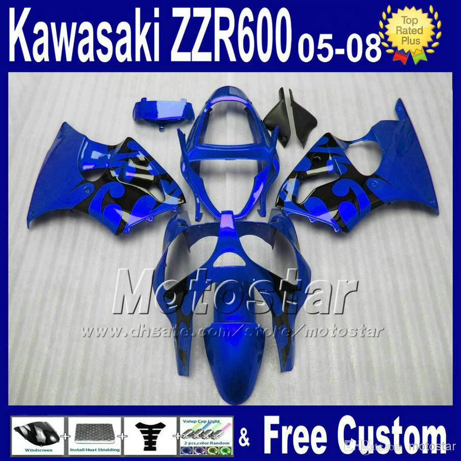 motorcycle parts for kawasaki ZZR 600 05 06 07 08 plastic black blue fairing kit 2005 2006 2007 2008 ZZR600 fairings SD39 7 gift aftermarket free shipping motorcycle parts eliminator tidy tail for 2006 2007 2008 fz6 fazer 2007 2008b lack
