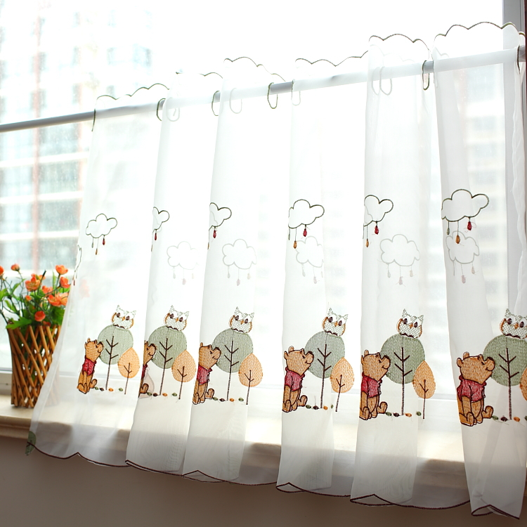 Translucidus Embroidered Winnie Bear And Owl Voile Curtain Cartoon Coffee  Curtain Kitchen Curtain Small Curtain
