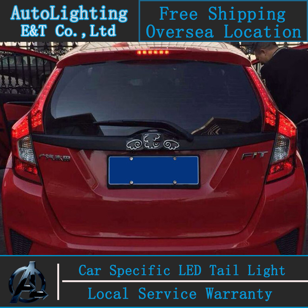 Car Styling LED Tail Lamp for Honda New Fit taillight assembly 2014 Jazz LED Tail Lamp rear trunk lamp cover drl+signal+brake. car rear trunk security shield cargo cover for honda fit jazz 2014 2015 2016 2017 high qualit black beige auto accessories