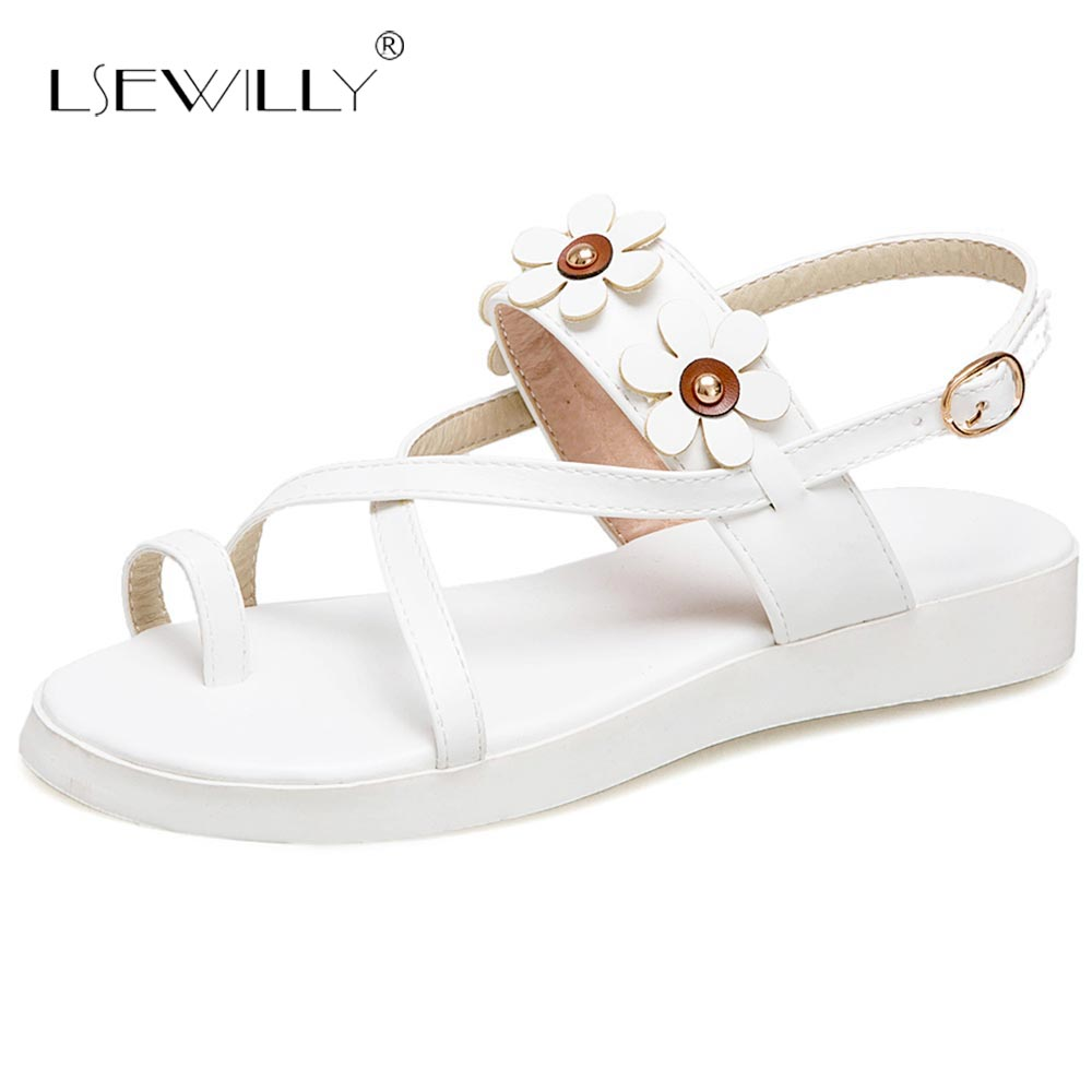 Lsewilly Summer Sweety Flower Flat Heel Sandals Shoes Woman Buckle