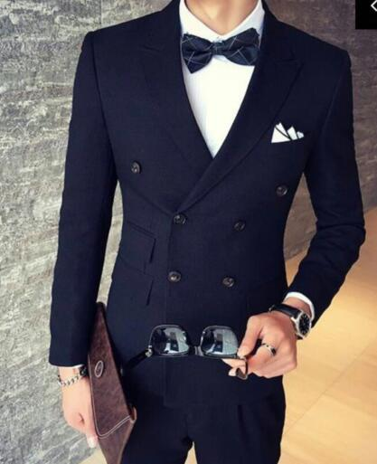 New Fashion Navy Blue Mens Dinner Party Prom Suits Groom Tuxedos Groomsmen Wedding Blazer Suits K:2170 jacket+pants+vest+tie