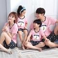 Família pijamas conjuntos de algodão moda casual curto de pai e filho mãe e filha combinando treino roupas de verão 2016