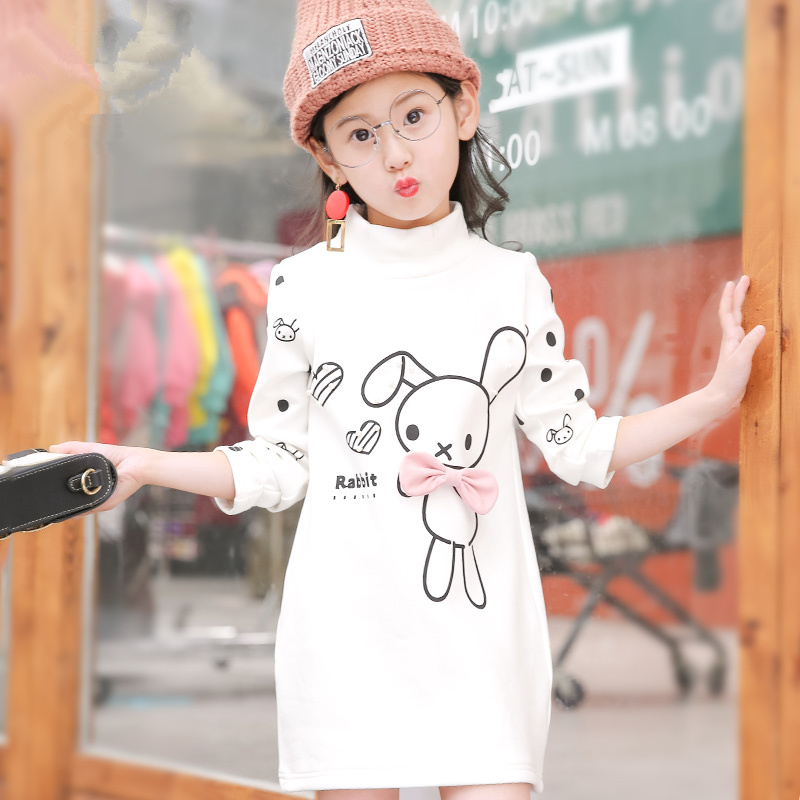 Inner Warm Velvet Girls T-shirt Autumn Winter Children Clothing Long Type Baby Girl Boy Clothes Princess Long Sleeve T shirts 2018 spring autumn new girls leggings t shirt baby boy girl pants t shirts ribbed children s clothing sets baby girl clothes