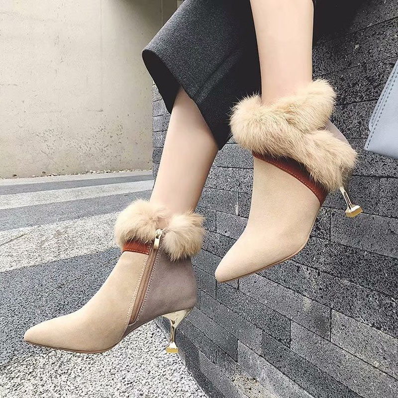 faux fur decoration ankle boots women gold high heeled plush winter booties mixed color suede leather peluche botas mujer s456 32