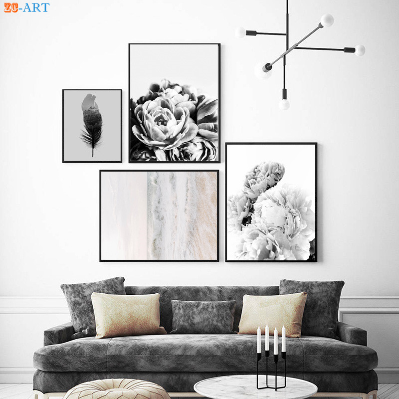 Black And White Artwork For Bedroom: Black And White Poster Peony Flowers Print Modern Abstract