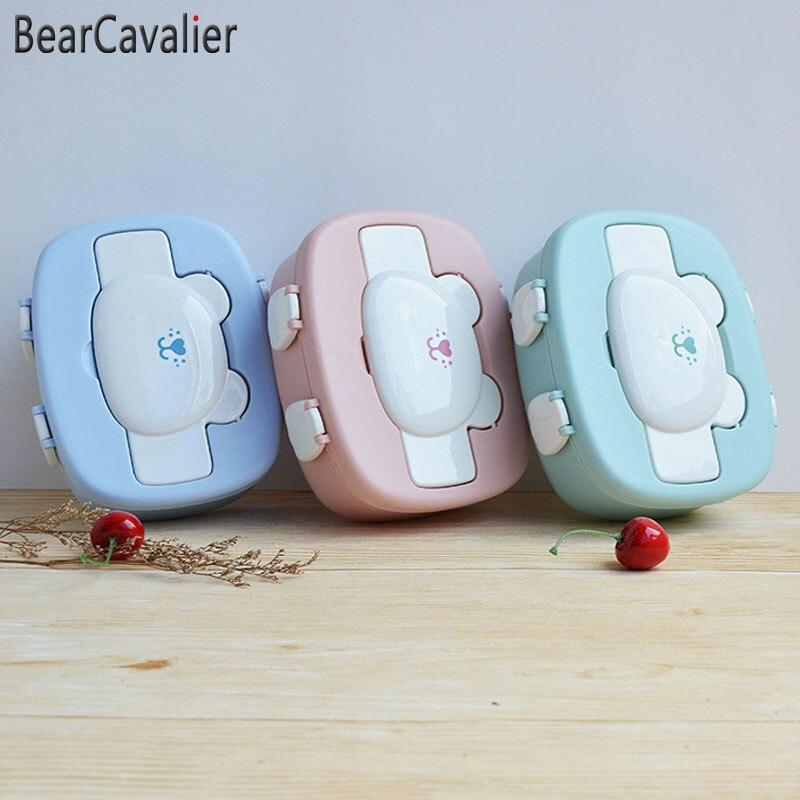 Bearcavalier 3 цвета дети мультфильм обед коробок окружающей среды десерт поле микроволновая печь Bento Box для фруктов Посуда
