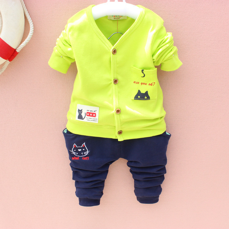 Baby boy girl Clothing Set New childrens wear Korean childrens boys cardigan cat kittens Top coat + pants suits baby clothes
