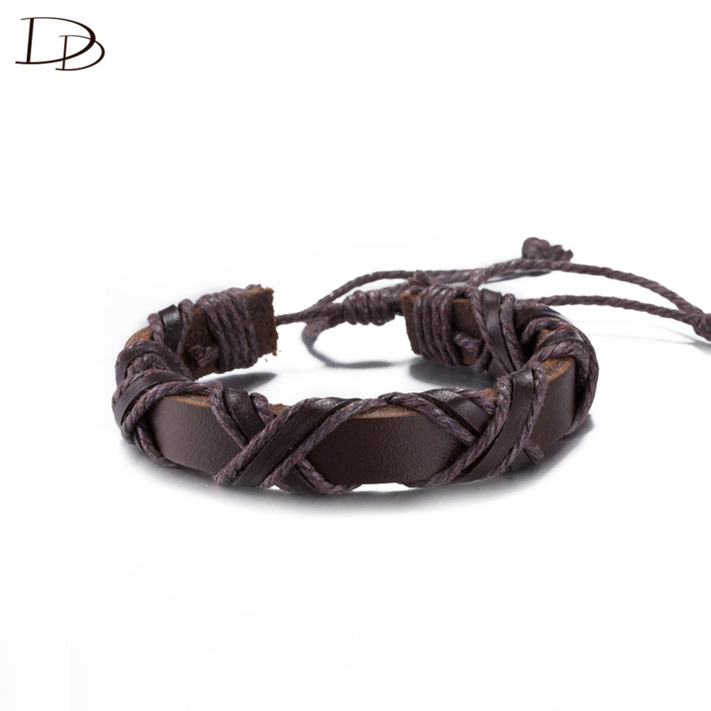 cool X shaped black/brown color viking bracelets Binding leather bracelet for women men fashion jewelry gifts bijoux DFSH030