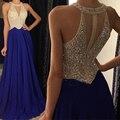 Brilhante Azul Royal Prom Dress 2017 Vestidos De Gala vestidos O Pescoço A Linha Frisada Chiffon Sexy Mulheres Vestidos de Noite Formal Do Partido vestidos