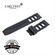 CARLYWET RU STOCK Men Women Black Strap High quality Silicone Rubber Wrist Watch Band Belt Without Buckle
