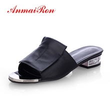ANMAIRON2019 New Arrival  Genuine Leather Women Summer High Quality Slippers Solid Outside Shoes Size 34-42 LY4003