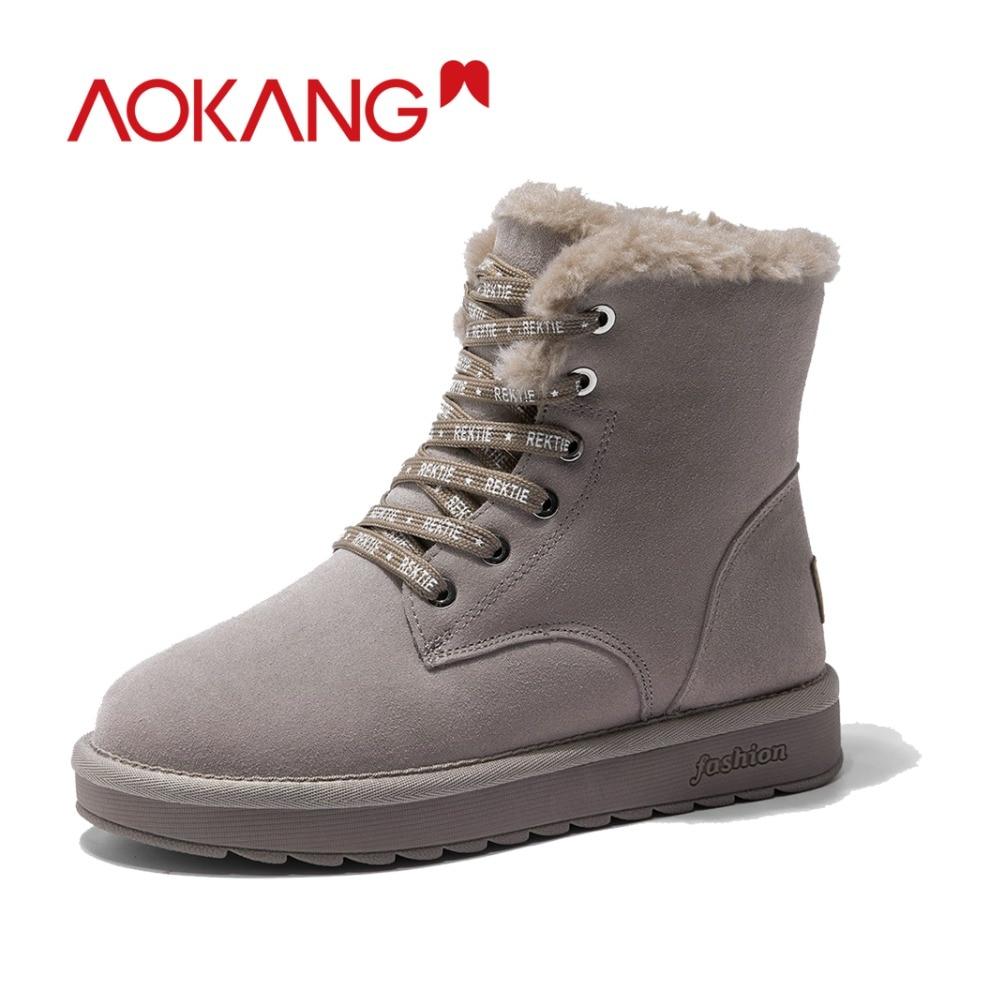 AOKANG 2018 Hiver femmes bottes vache en daim cheville neige bottes pour femmes mode chaud peluche courte chaussures femme confortable botas mujer