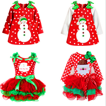Christmas Long Sleeves Children Fancy Gowns
