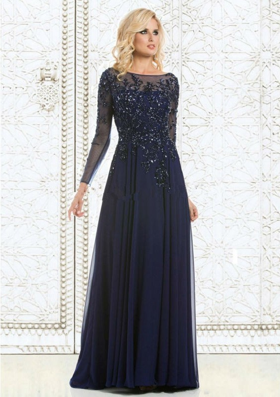Navy Blue Long Sleeves Long Mother of the Bride Dresses Beaded Sparkle Mother's Formal Dresses 2019 Women Social Occasion Dress