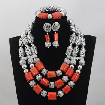 Silver Accessories Mix Red Coral Beads Jewelry Sets Popular African Wedding Necklace Sets African Accessory Free ShippingABL929