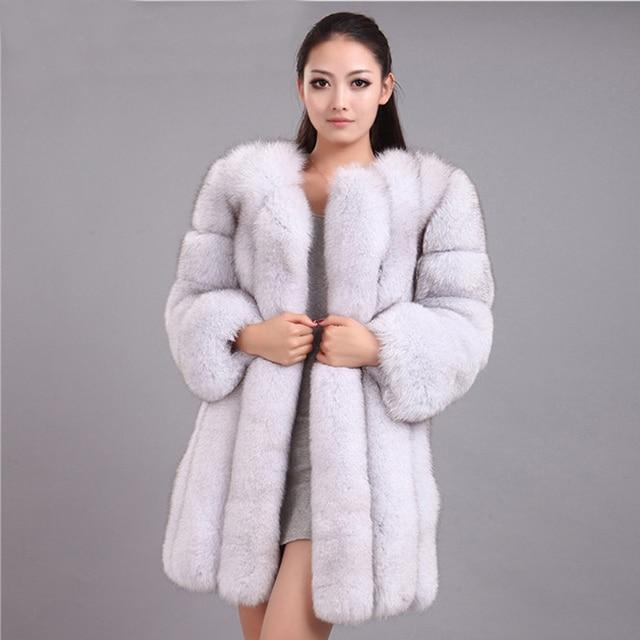 ZADORIN S-4XL Winter Luxury Faux Fox Fur Coat Slim Long Pink Red Blue Faux Fur Jacket Women Fake Fur Coats manteau fourrure 2