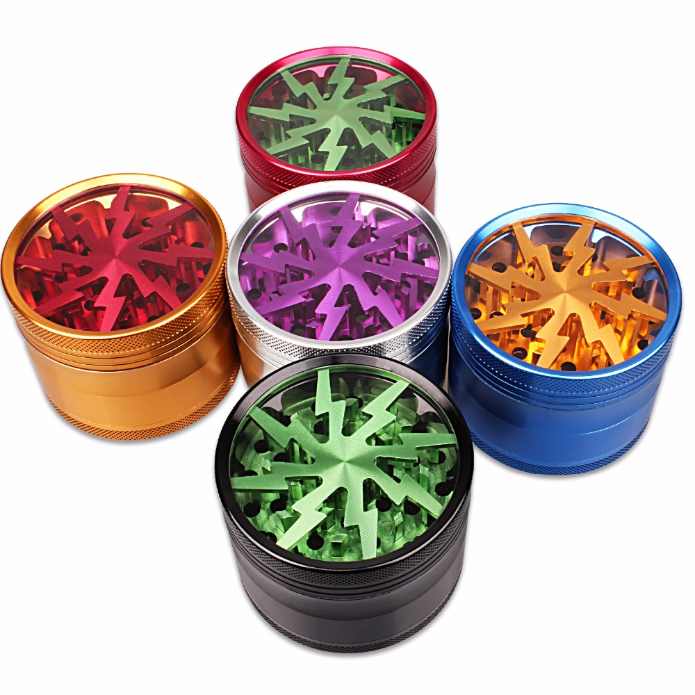 Latest Lightning-shaped 4 Layers Smoking Weed Herb Grinders