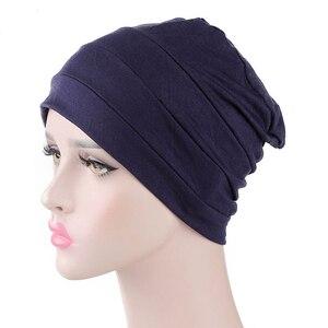 Image 3 - Женская индийская шляпа, новая мусульманская эластичная чалма, Кепка хиджаб, женская кепка для выпадения волос, повязка на голову, химиотерапия, Арабская шапочка, аксессуары